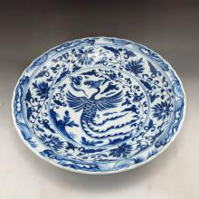 Hand-painted Chinese Ming Dy Style Blue And White Plate w Phoenix & Xuande Mark