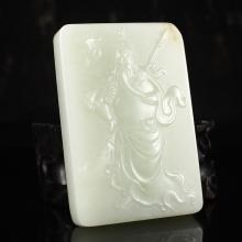 Superb Hand-carved Chinese Natural Hetian Jade Pendant w Guan Gong