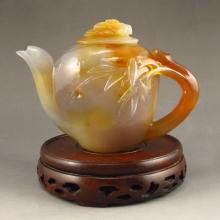 Beautiful Hand Carved Chinese Natural Agate Teapot w Bamboo