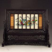 Chinese Black Sanders Wood Inlay Elephant Bone Screen w Eight Taoism Deity