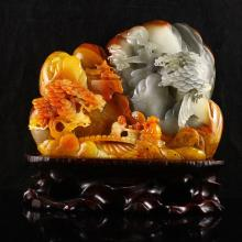 Fine Hand Carved Chinese Natural Jade Statue w Sage Meeting