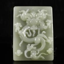 Hand Carved Chinese Natural Hetian Jade Pendant w Dragon