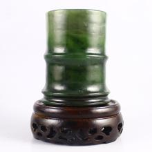 Fine Hand Carved Chinese Natural Green Hetian Jade Brush Pot