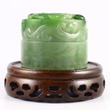 Hand Carved Chinese Natural Green Hetian Jade Seal w Dragons