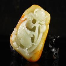 Beautiful Hand Carved Chinese Natural Hetian Jade Pendant w Catfish & Louts