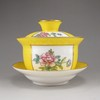 A Set Hand-painted Chinese Yellow Glaze Famille Rose Porcelain Cup w Qian Long Mark