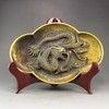 Chinese Brass Plate Statue - Carved Dragon
