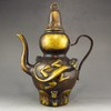 Chinese Brass Flagon Carved Dragon w Xuan De Mark