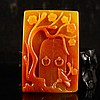 Superb Color Chinese Natural Jade Pendant Carved Magpie & Plum Flower & Door