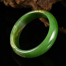 Inside Diameter 52mm Hand-carved Chinese Natural Green Hetian Jade Bracelet
