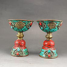 A Pair Chinese Brass Inlay Turquoise Candlestick