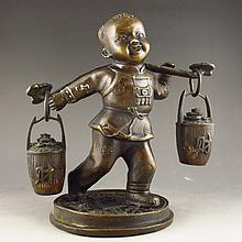 Chinese Bronze Statue - Fortune Kid