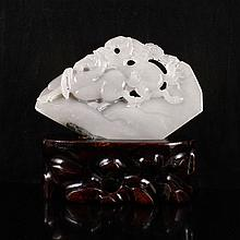 Superb Hand Carved Chinese Natural Hetian Jade Statue w Horse