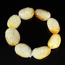 Hand Carved Chinese Natural Hetian Jade Laughing Buddha Bracelet