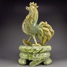 Hand Carved Chinese Natural Jade Statue - Rooster