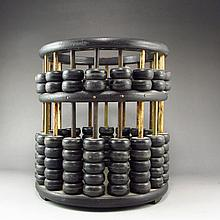 Handmade Chinese Ebony Wood Abacus Brush Pot