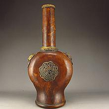 Chinese Ground Inaly Brass Bottle