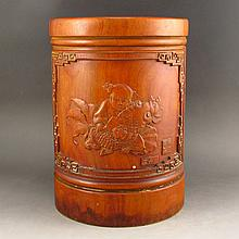 Vintage Hand-carved Chinese Bamboo Brush Pot w Fortune Kid Goldfish & Flower