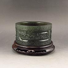 Hand Carved Chinese Natural Jade Brush Washer