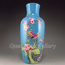 Hand-painted Chinese Blue Ground Porcelain Vase w Yong Zheng Mark