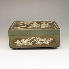Chinese Bronze Box Carved Kid Tree Bat