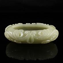 19Th C Style Chinese Natural Hetian Jade Low Relief Scholar Brush Washer Carved Chi Dragon