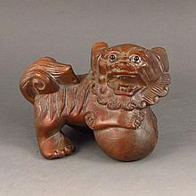 Hand Carved Chinese Natural Boxwood Statue - Lion & Ball