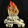 Hand Carved Chinese Natural Chicken Blood Stone Statue w Flower