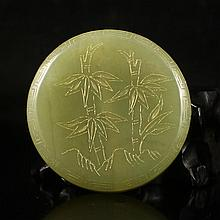 Chinese Qing Dynasty Style Natural Hetian Jade Pendant Carved Bamboo w Marked