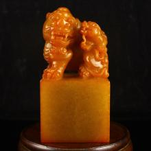 Chinese Natural Shoushan Stone Seal Statue w Lion & Dragon
