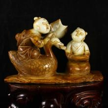 Chinese Tang Dy Style Natural Hetian Jade Statue Carved Fortune Kids & Goose