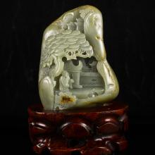 Superb Hand Carved Chinese Natural Hetian Jade Statue w Man & Pine Tree