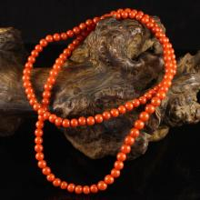 Superb Color Chinese Natural Nan Hong Agate Beads Necklace