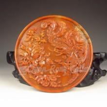 Hand-carved Chinese Natural Shoushan Stone Pendant - Phoenix & Peony