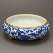 Hand-painted Chinese Blue And White Porcelain Gold-plating Incense Burner  w Qian Long Mark