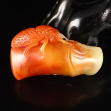 Hand Carved Chinese Natural Shoushan Stone Pendant - Cicada & Bamboo