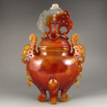 Superb Hand-carved Chinese Natural  Agate Double Ears Incense Burner