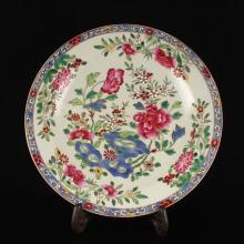 Superb Hand-painted Chinese Famille Rose Porcelain Plate w Poeny Flower