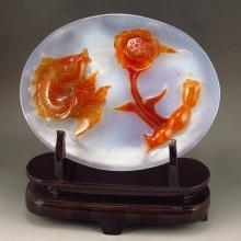 Hand-carved Chinese Natural Agate Plate w Fish & Lotus Flower