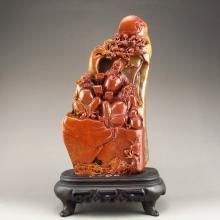 Superb Hand Carved Chinese Natural Shoushan Stone Statue -  Three Brothers in Romance of Three Kingdoms