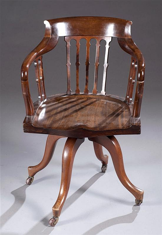 Mahogany Desk Chair, Ca. 1870