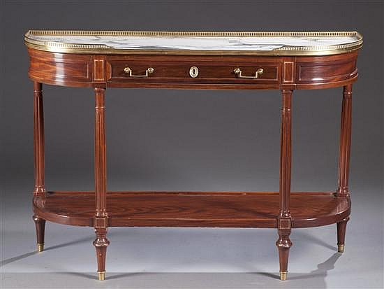 Louis XVI Style Mahogany Console Table with Marble Top
