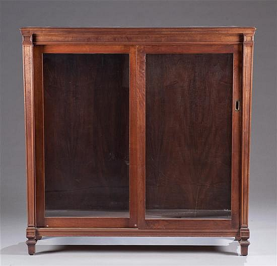 Mahogany Glass Front Bookcase with Sliding Doors and Adjustable Shelves, 54