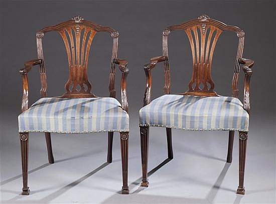 Chippendale Style Chairs with Blue Upholstery