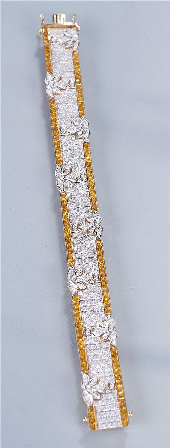 Lady's 18K Gold, Diamond and Yellow Sapphire Bracelet