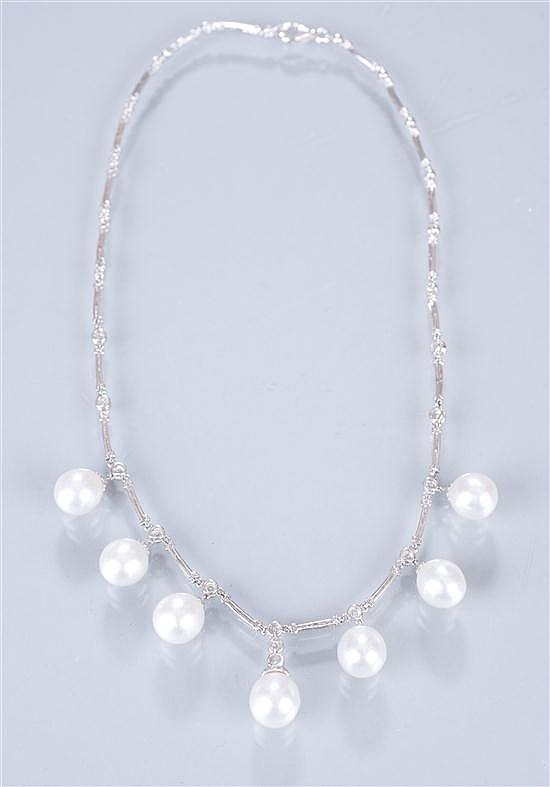 18K White Gold South Sea Pearl and Diamond Necklace