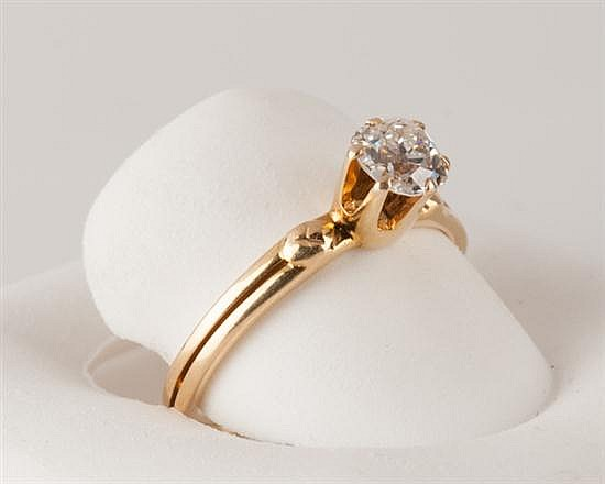 18K Yellow Gold Diamond Solitaire Ring, 2.5 grams,