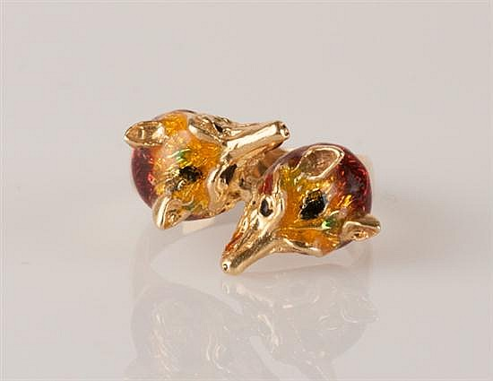 18K Yellow Gold & Enamel Double Fox-head Ring, 6.3 grams,