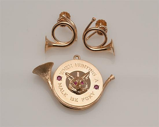 14K Yellow Gold Earrings and Charm,