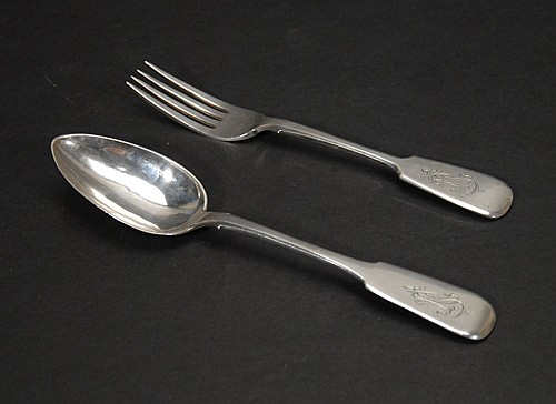 Russian Silver Serving Fork and Spoon,